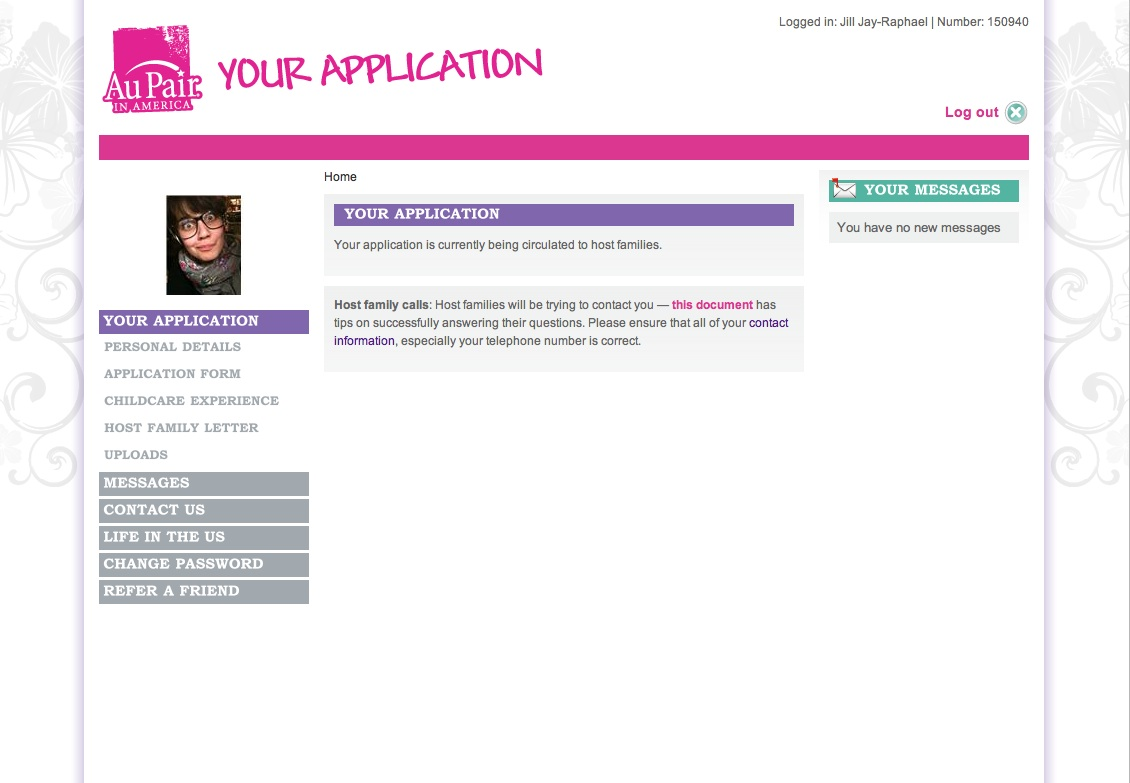Screenshot of Jill's Application